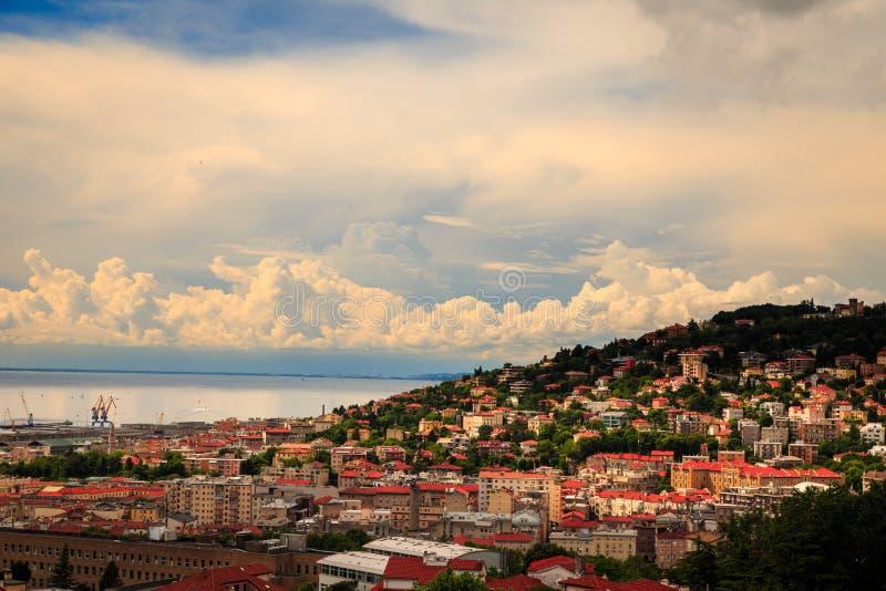 Storm over the city of Trieste. A big storm approaching the city of Trieste royalty free stock photos