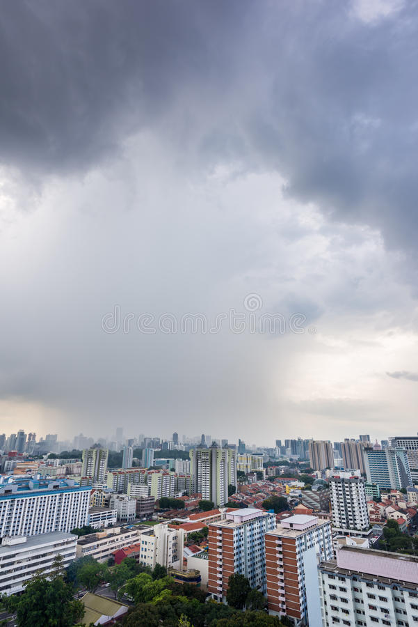 Big storm clouds forming over city royalty free stock image