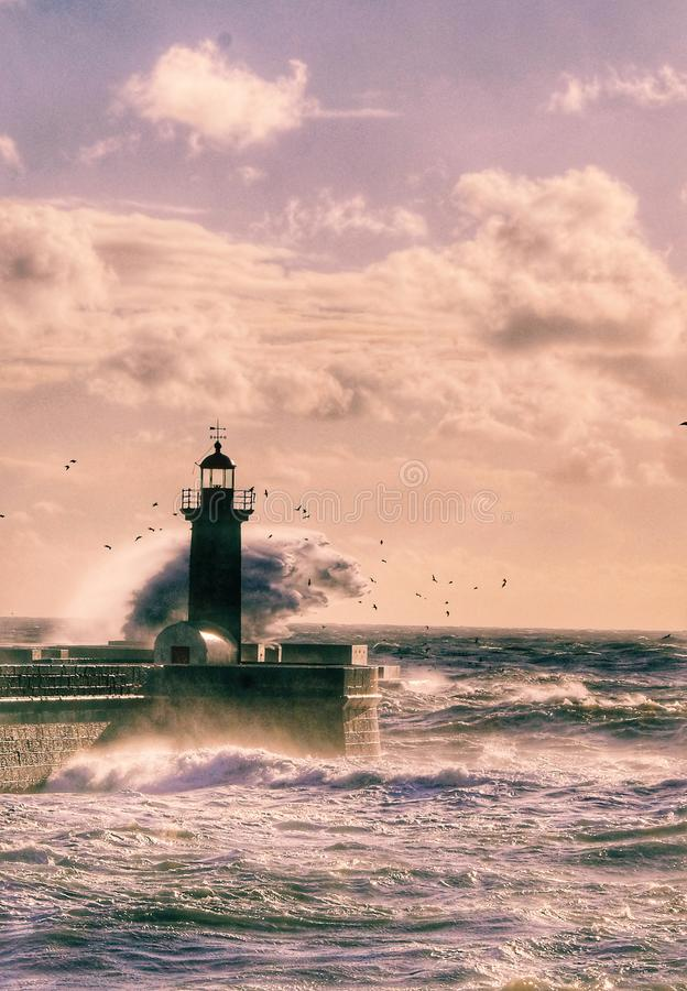 THE Sunset lighthouse stock photos