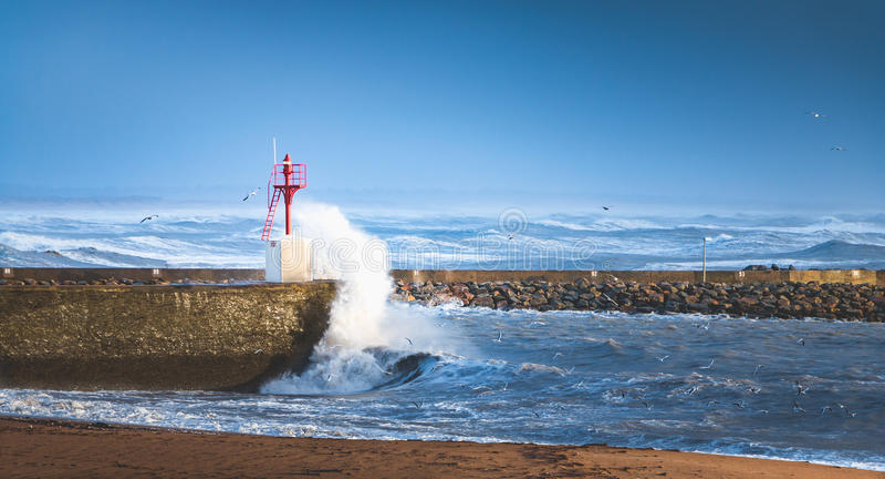 Big storm on a port. Big storm on the port of Saint Gilles Croix de Vie, France stock photos