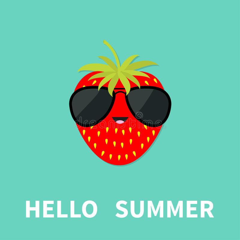 Big strawberry berry fruit with leaf wearing sunglasses. Cute cartoon smiling character. Hello summer Greeting Card vector illustration