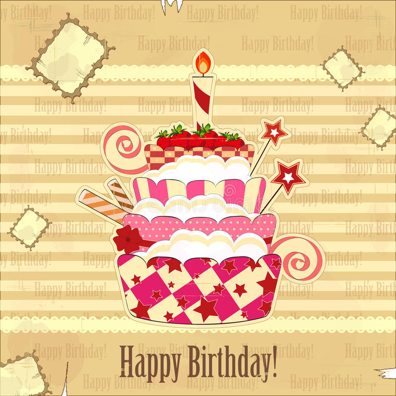Big strawberry birthday cake vector illustration