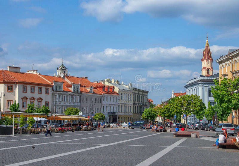 Big street of vilnius royalty free stock photos