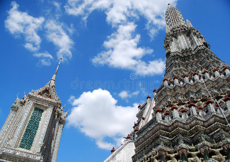 Big stupa of Wat Arun. Wat Arun is among the best known of Thailand's landmarks and the first light of the morning reflects off the surface of the temple with royalty free stock photography