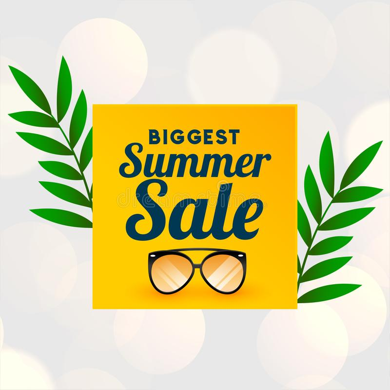 Big summer sale background with glass wear stock illustration
