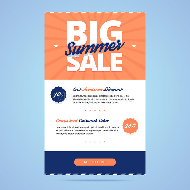 Big summer sale newsletter template. Email layout in flat style. Vector illustration vector illustration
