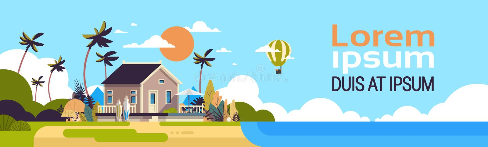 Big summer villa house air balloon surf board palm trees greeting card poster template flat copy space banner royalty free illustration