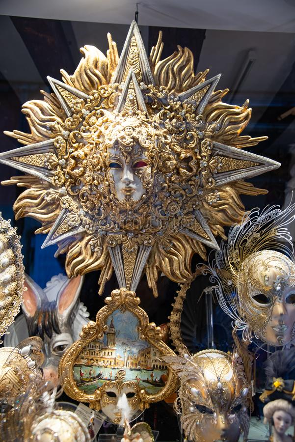 Big sun gold and silver, big carnival mask. stock photo