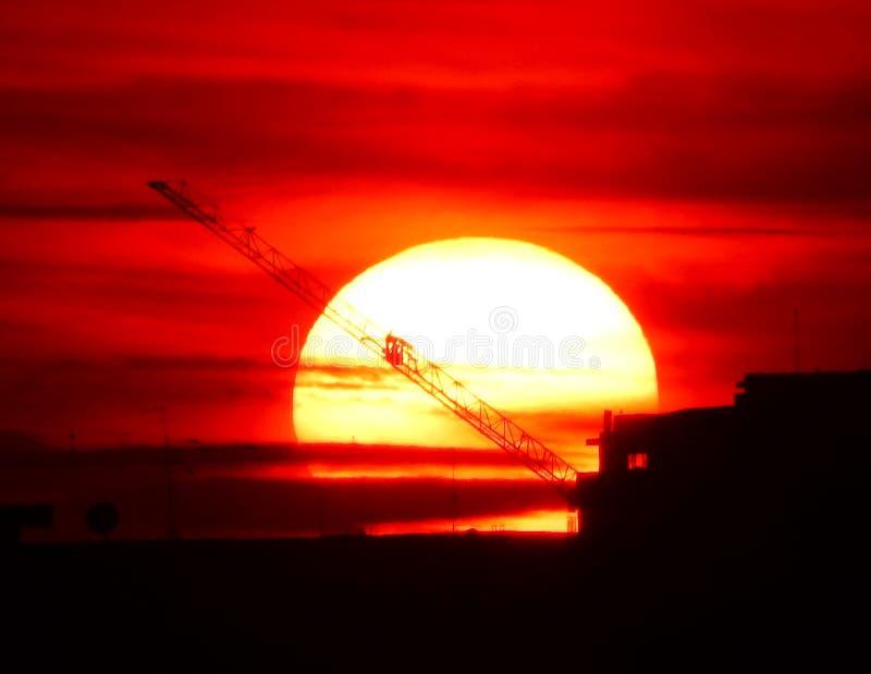 Big sun at sunset royalty free stock photography