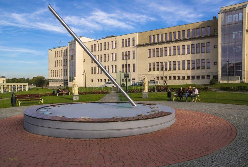 Big sundial. Big modern sundial on the University in Krakow. Poland royalty free stock photos