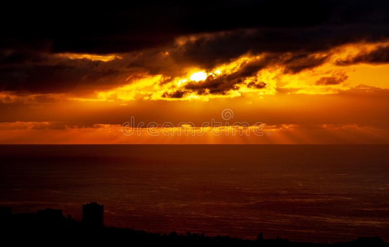 Big sunset over the sea with cloud royalty free stock images