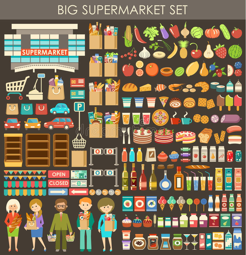 Big supermarket set. Image consisting of a set of products, people, and building a supermarket