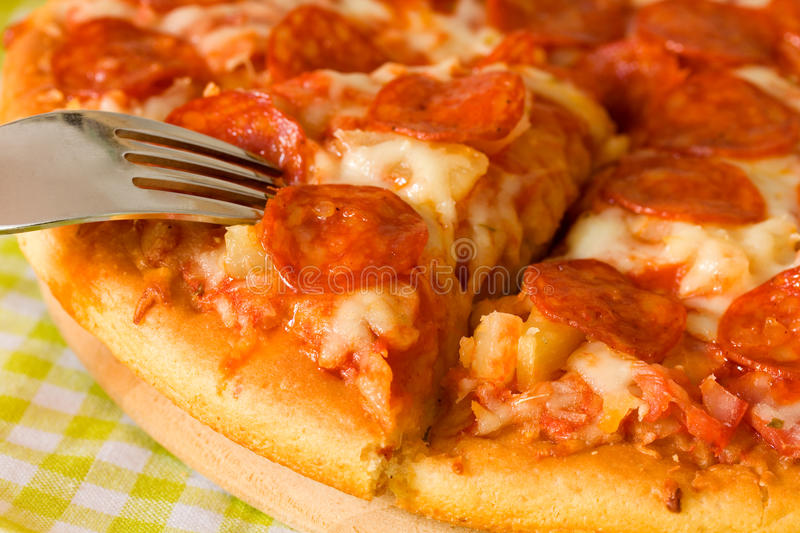 Download Big Supreme Pizza in pan stock photo. Image of cheese - 13348166
