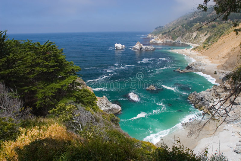 Big Sur beach. Late afternoon view of the Big Sur coastline and beaches royalty free stock images