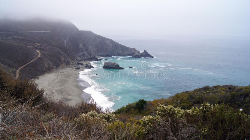 BIG SUR, CALIFORNIA, UNITED STATES - OCT 7, 2014: Cliffs at Pacific Coast Highway Scenic view between Monterey and Pismo stock images