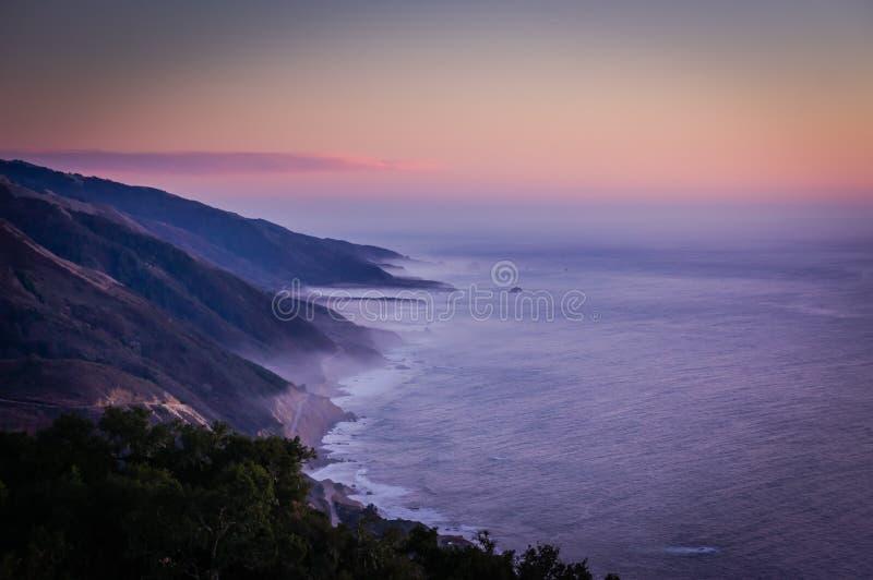 Big Sur coastline at dusk. royalty free stock photography