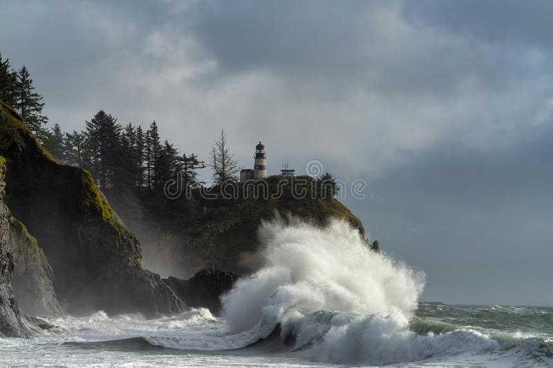 Big Surf And Lighthouse Cape Disappointment royalty free stock image