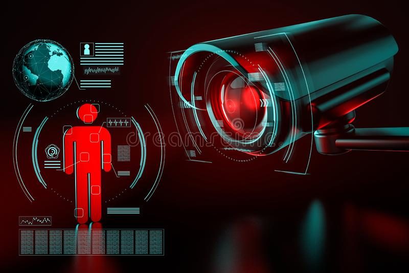 Big surveillance camera is focusing on a human icon as a metaphor of collecting data on society by surveillance systems. 3D stock photos