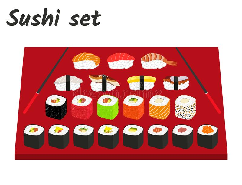 Big sushi and roll set vector illustration