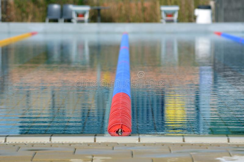 The big swimming pool with tracks royalty free stock photography