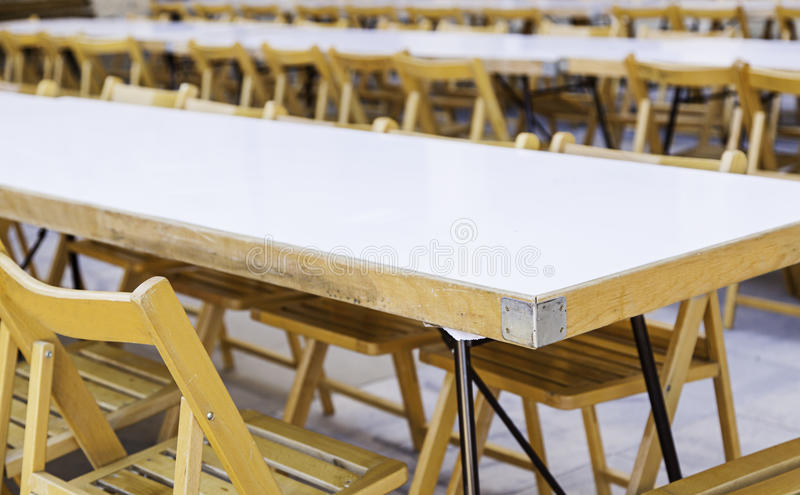 Large table with chairs for a celebration stock photo