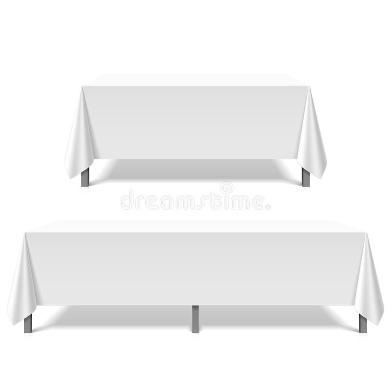 Big tables covered with white tablecloth. Illustration royalty free illustration