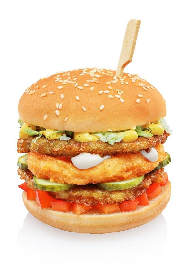 Big tall hamburger isolated royalty free stock photography