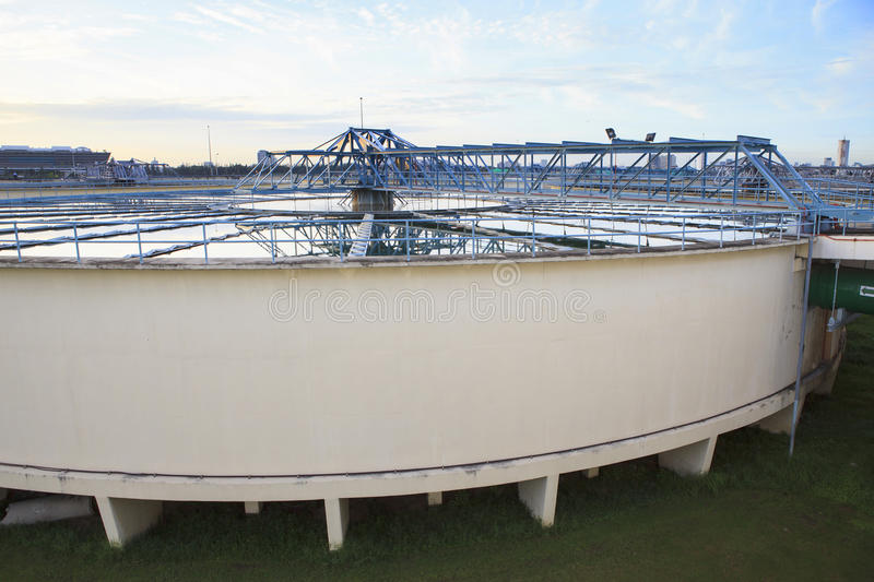 Big tank of water supply in metropolitan water work industry plant site stock images