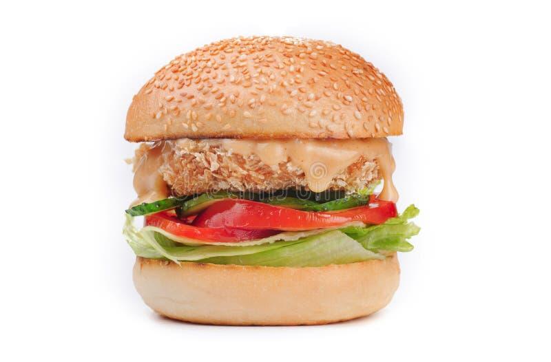 Big tasty crispy chicken hamburger burger isolated on white stock images