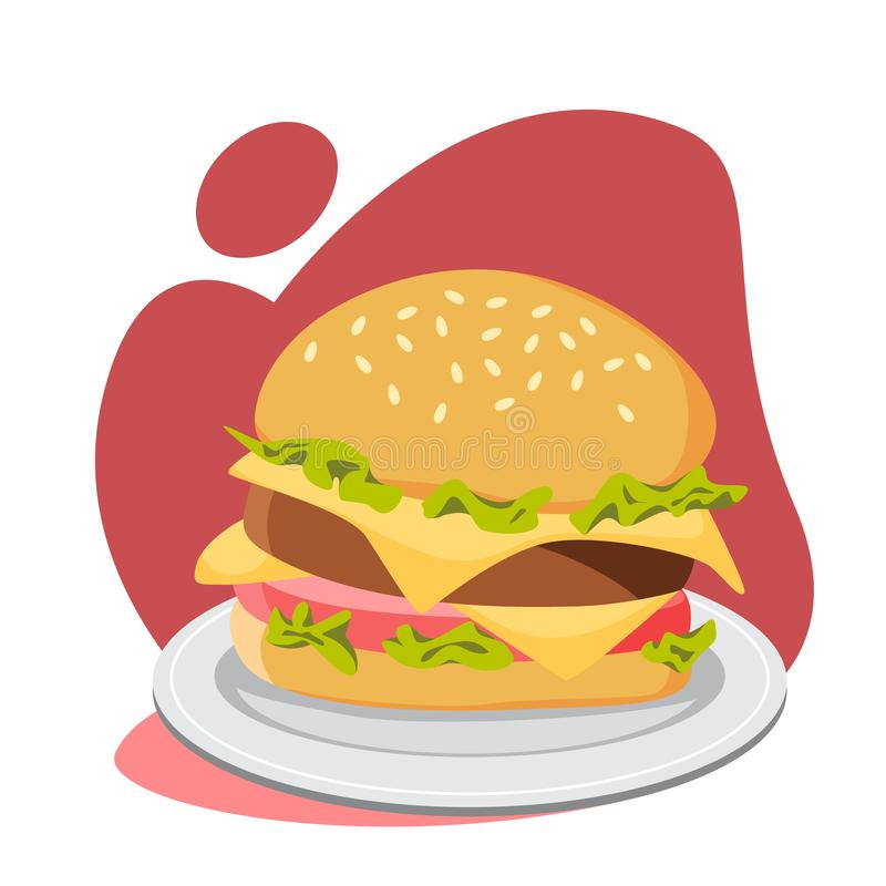 Big tasty hamburger with cheese, tomato and beef royalty free illustration