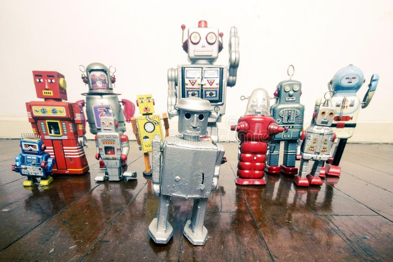 A big team of robot toys royalty free stock photography