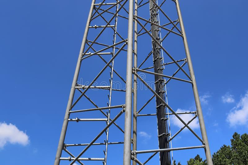 Big telecommunication antenna in a detailed close up view found on an agricultural field. In Germany royalty free stock photos