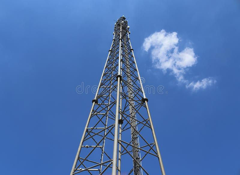 Big telecommunication antenna in a detailed close up view found on an agricultural field. In Germany royalty free stock images