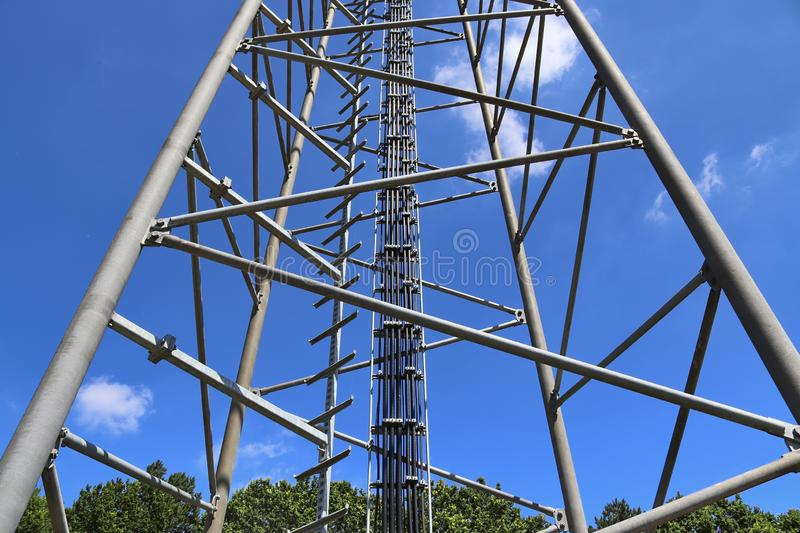 Big telecommunication antenna in a detailed close up view found on an agricultural field. In Germany stock images