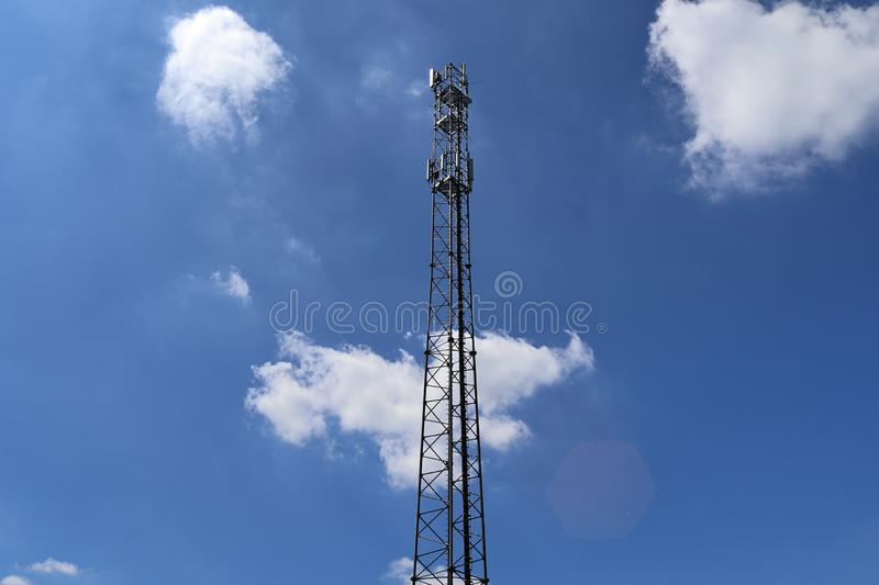 Big telecommunication antenna in a detailed close up view found on an agricultural field. In Germany stock image