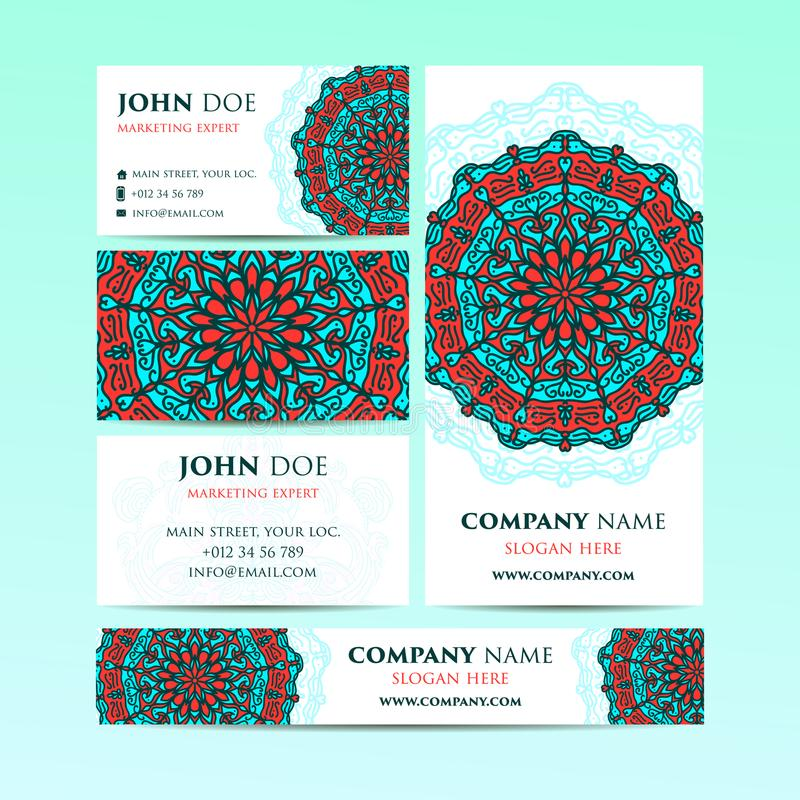 Big Templates Set. Business Cards, Invitations And Banners. Mandala ...