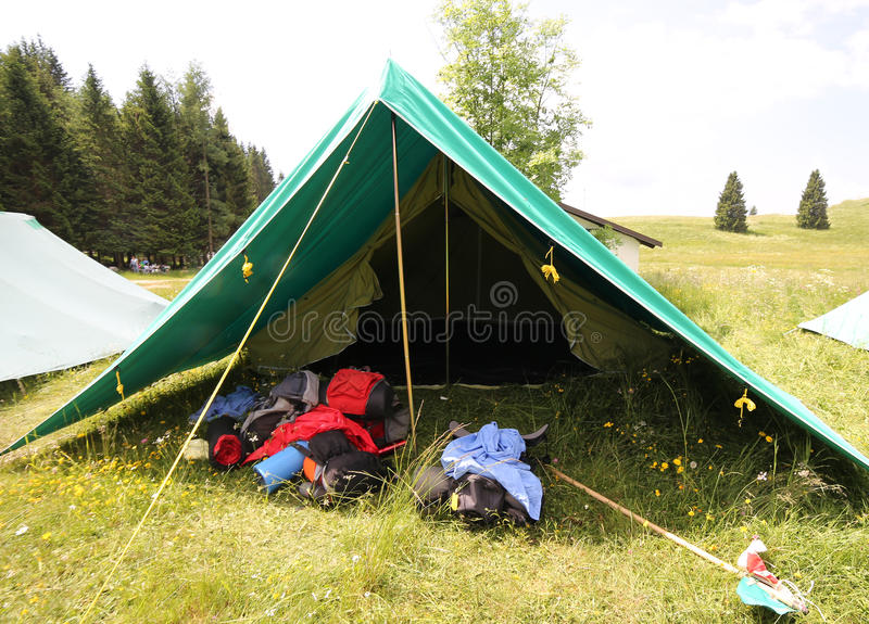 Download Big Tent Of Boy Scout C& With Backpacks And Sleeping Bags Spre Stock Photo - & Big Tent Of Boy Scout Camp With Backpacks And Sleeping Bags Spre ...