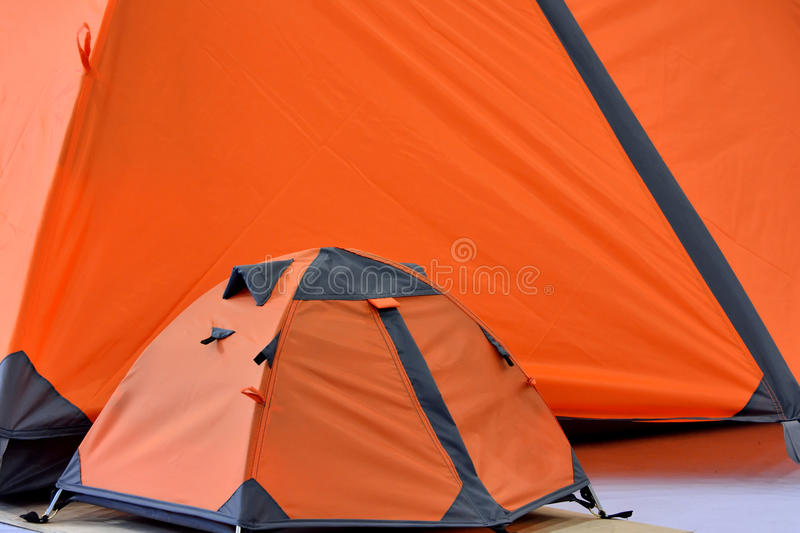 Download Big Tent And Small Tent In Orange Stock Image - Image: 32108081