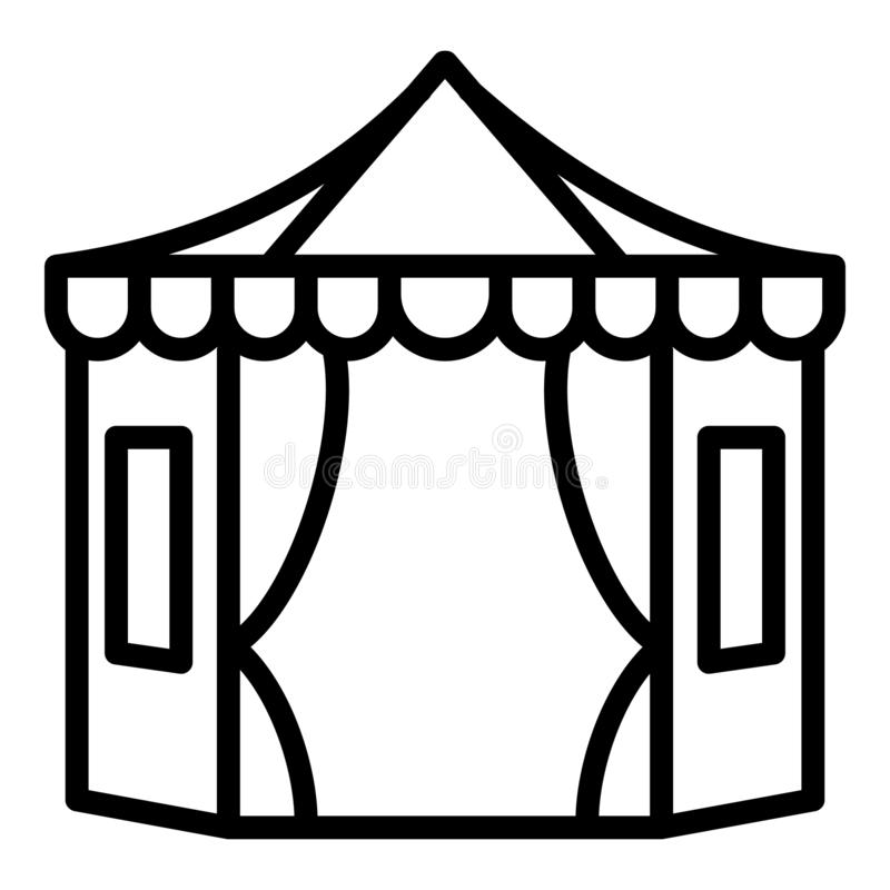Big tent with windows icon, outline style vector illustration