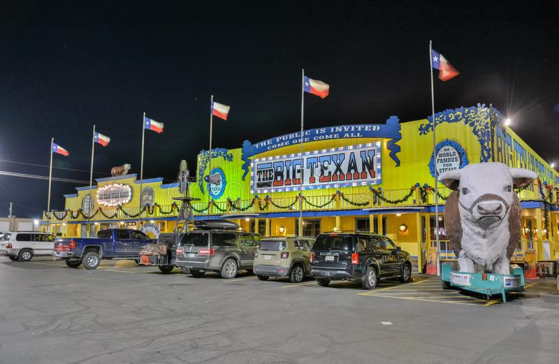 Big Texan Steak Ranch in Amarillo, TX. Amarillo, Texas, United States of America - January 1, 2017. Exterior view of Big Texan Steak Ranch in Amarillo, TX, at royalty free stock images
