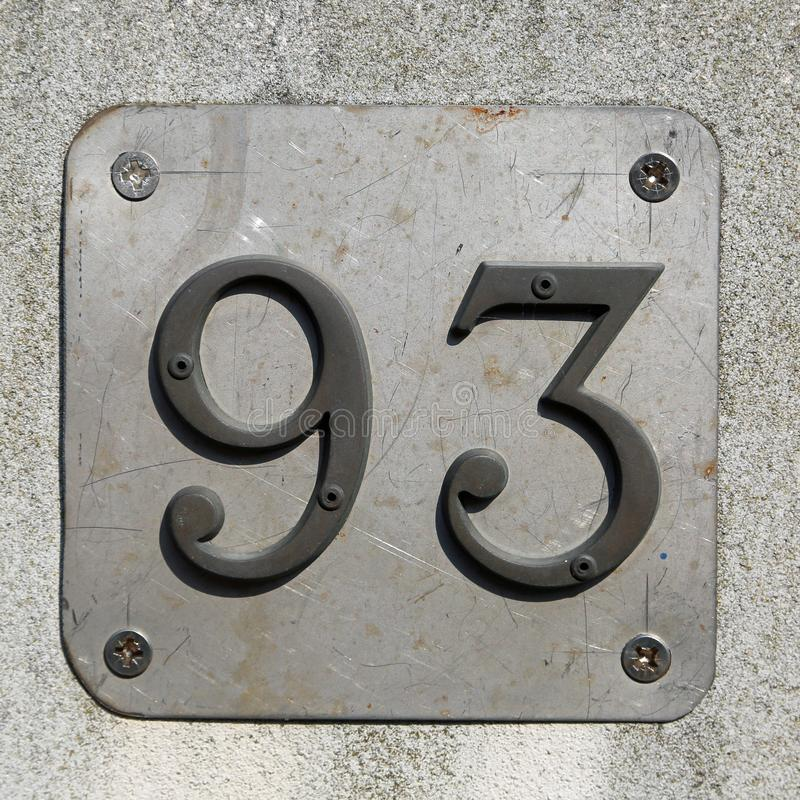 Big text number 93 stock photography