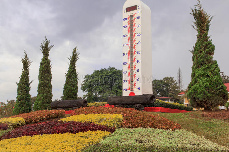 Big thermometer. Big outdoor thermometer in garden royalty free stock photo