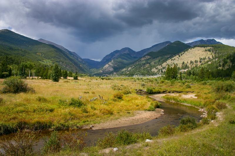 The Big Thompson River in Moraine Park, Colorado. Beautiful meadow and The Big Thompson River in Moraine Park, Colorado stock image
