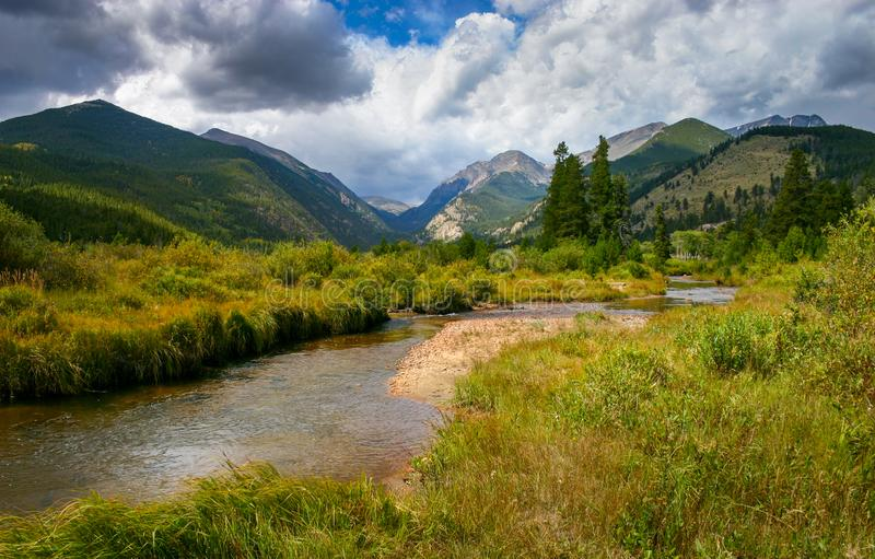 The Big Thompson River in Moraine Park, Colorado. Tall grass meadow at the shore the Big Thompson River in Moraine Park, Colorado stock image