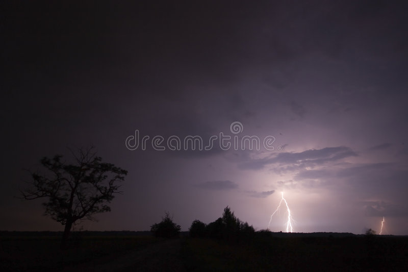 Big thunderbolt. This picture has taken in a big storm, huge thunders and lightens were in this field, next to the tree royalty free stock photos