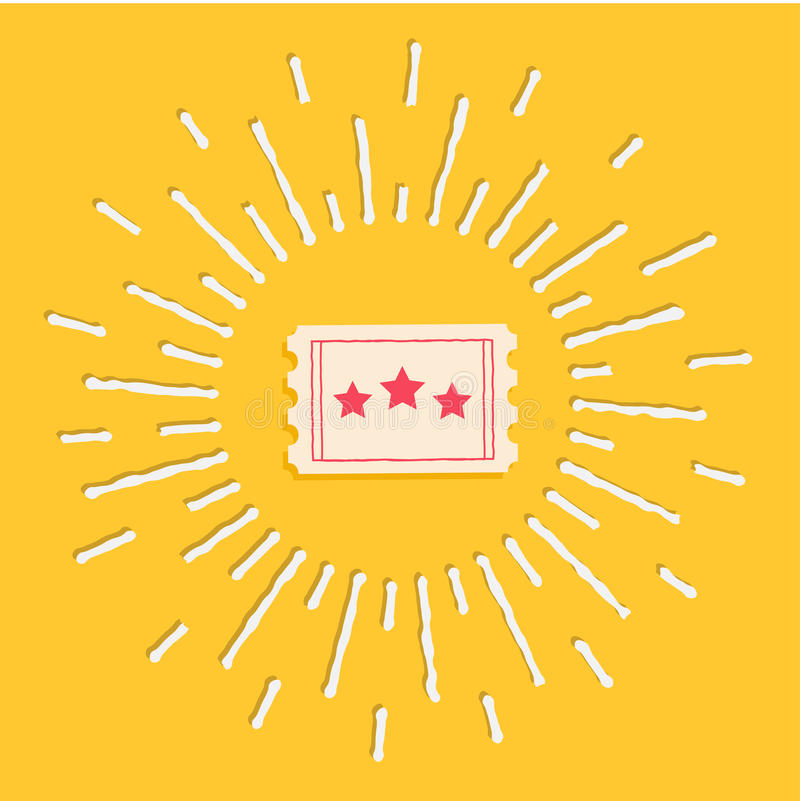 Big ticket. Cinema icon in flat design style. Shining effect dash line circle. Vector illustration stock illustration