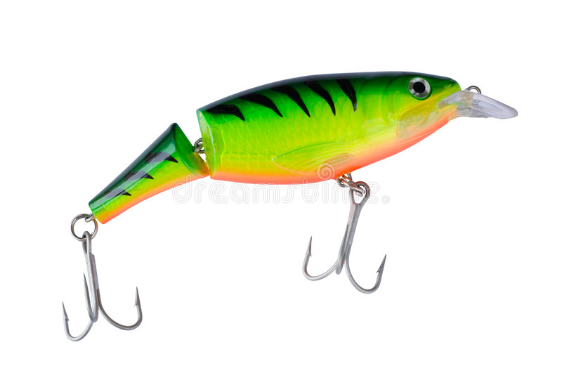 Big tiger painted lure, clipping path. Big tiger painted jointed lure, clipping path included royalty free stock photos