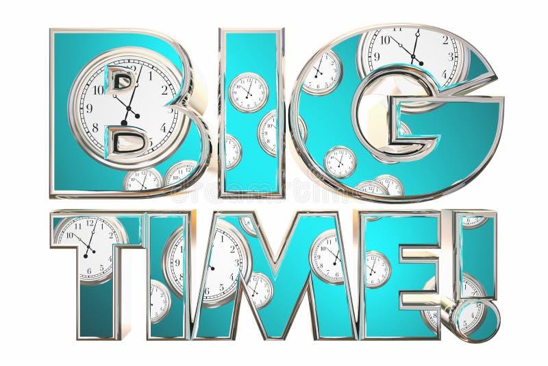 Big Time Huge Deal News Clocks Words. 3d Illustration vector illustration