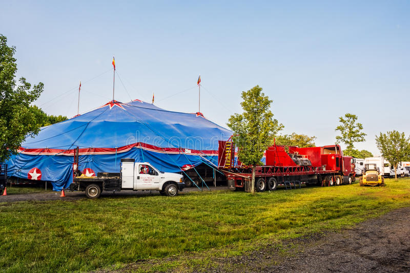 The Big Top. OLD BRIDGE, NEW JERSEY -JUNE 8 - The Big Top Kelly Miller Circus tent on June 8 2015 in Old Bridge New Jersey stock images