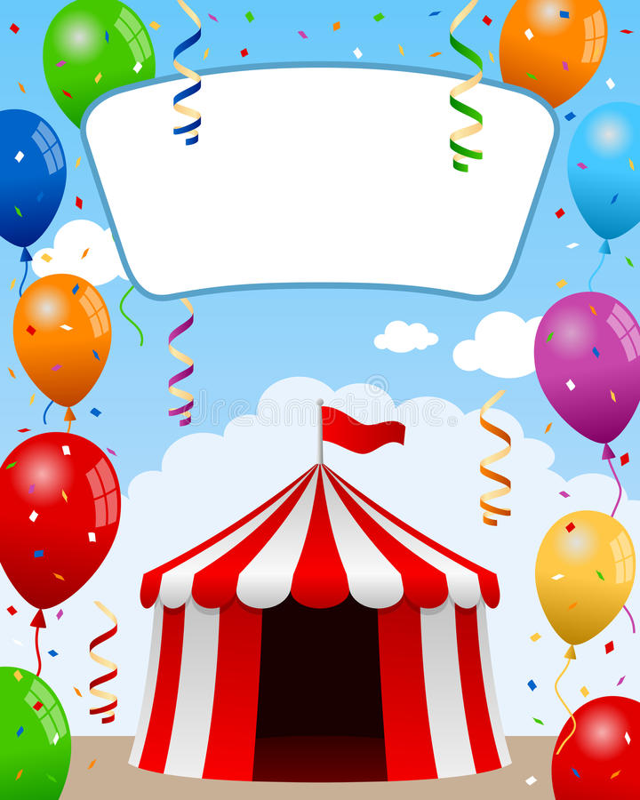 Big Top Poster with Balloons. A funny cartoon poster with circus tent, balloons, confetti and party streamers. Empty banner for your text. Eps file available royalty free illustration